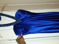 Royal Blue 100% silk floor length dress. Dress features