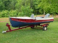 14' aluminum v-hull boat with trailer and motor. Boat