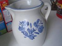 Blue Stoneware Pitcher has a marking on bottom email