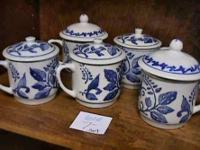 Blue/White Covered Tea + Coffee Cups  Get there 1st and