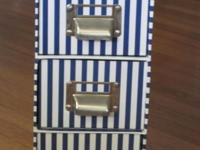 blue & white storage boxes, 3 attached drawers with