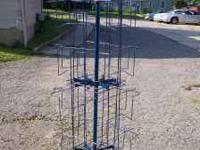 Blue Wire Metal Rotating Rack. Holds Books, Magazines,