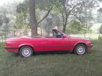 BMW 1991 Red Convertible, 5 spd, AC, pw/pd, runs great,