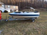14ft bay liner 88 model with a 50hp force. boat in very