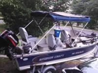 Smokercraft boat Side console with windshield 30 HP