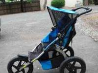 BOB Sport Utility jogging stroller. Blue and black.