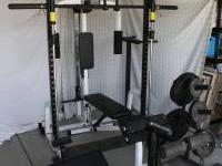 Body Solid work out station. Has moveable bench with