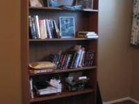 "Wood bookcase 69"" x 35.5"" x 9"" good condition. dark"