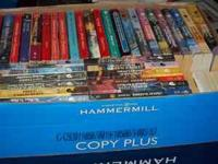 Four boxes (copy paper) of ROMANCE NOVELS. 70 books or