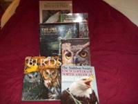 Six large books on the topic of owls, birds of prey,
