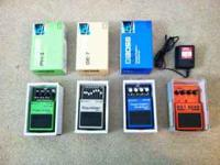 Boss EQ, Boss Compressor Sustainer, Boss Phase Shifter,