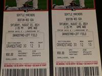 2 tickets Red Sox Mariners Sat Aug 23 1:35 pm $75.00