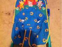 Foldable baby bouncer asking $5. Requires a D battery.