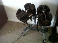 Bowflex Dumbells 10-90 lbs. Rarely used with stand.