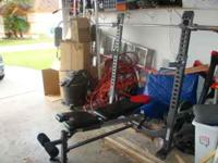 BOWFLEX WEIGHTBENCH. FOLDS UPRIGHT TO SAVE SPACE WHEN