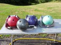 4 bowling balls &3 bags, $5 each  Location: janesville