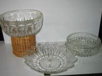 LARGER FANCY CLASSIC SHAPES CLEAR PRESSED GLASS BOWLS .