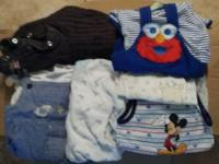 Box filled with baby boys gently used clothes 0 to 3