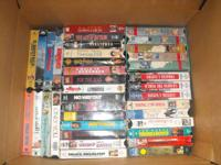 assorted vhs tapes and rca+vcr works tapes are in good