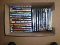 Box of DVDs for sale as a lot total of 69 disc of 108