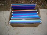Box of 25 hanging file folders, various colors. $4 for