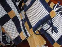10 piece baby boy bedding. cool blue and brown design.