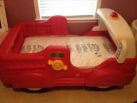 Boy Red Fire Engine Car Bed with Mattress. This set is