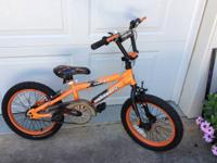 "Child's 16"" Mongoose ""Mutant"" BMX bike, front and rear"