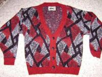 Boy's red, black, gray and red cardigan sweater in