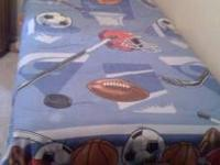 Sports theme bedding includes: reversible comforter,