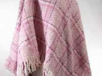 Pink plaid ponch made by Boyne Valley Weavers in