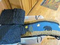sheet -navy blue with gold stars bumper for around crib