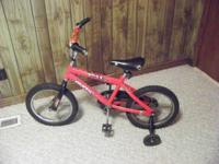 "BOYS 12"" HUFFY ROCK BIKE WITH TRAINING WHEELS, ASKING"