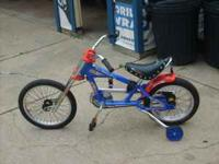 boys chopper comes with training wheels son wants a bmx