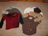 Picture #1- Boys size 7 long sleeved shirts: Gray