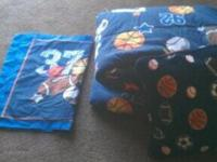 DARK BLUE BOYS SPORTS THEME BEDDING FOR $15.00
