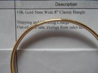 14k polished yellow gold - 5mm - 8 inch  bangle - 5.3