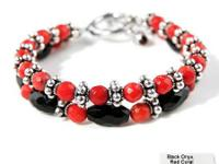 Genuine Red Coral and Onyx Bracelet  Genuine Coral and