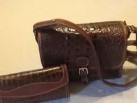 Brahmin Shoulder bag; leather croco design; leather