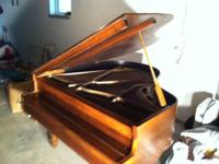Brambach Antique Baby Grand Piano. Walnut wood