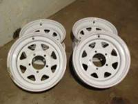 "Steel 15"" Rims with valve stem, 5 Lug pattern, ready to"