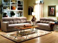 Brand New 5-Pc Microfiber Living Room Set in Neutral