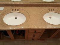 61x22 solid surface vanity top with back splash and 1