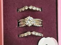 Beautiful Three Piece Bridal / Wedding Ring Set from