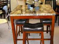 Brand New, Contemporary Style, Faux Marble Table w/4