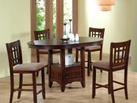 NEW COUNTER HEIGHT TABLE AND 4 CHAIRS FOR ONLY $468