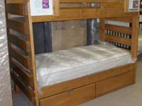 This is a brand-new, never-used double bunk bed (twin