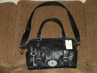 Brand brand-new black leather satchel design Fossil
