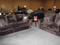 NEW BROWN MICRO FIBER COUCH WITH LOVE SEAT BY ASHLEY