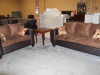 BRAND-NEW BROWN SUEDE SOFA WITH LOVE SEAT FOR $599.